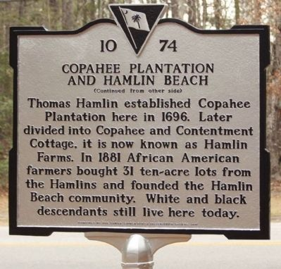 Copahee Plantation and Hamlin Beach Marker image. Click for full size.