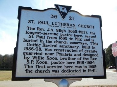St. Paul Lutheran Church Marker Reverse image. Click for full size.
