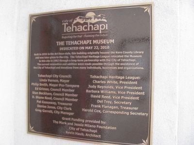 The Tehachapi Museum Marker image. Click for full size.
