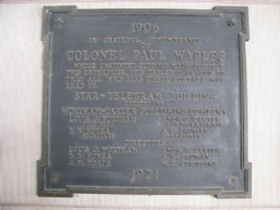 Colonel Paul Waples Marker-Near the entrance of building. image. Click for full size.
