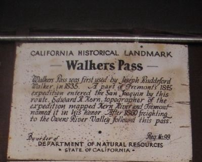 Walker's Pass Marker 99 image. Click for full size.