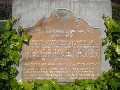 Charles Copeland Morse Residence Marker image. Click for full size.