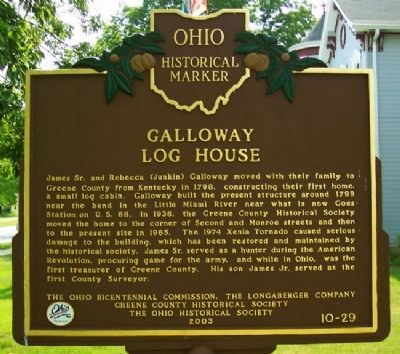 Galloway Log House Marker (Side A) image. Click for full size.