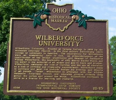 Wilberforce University Marker (Side A) image. Click for full size.