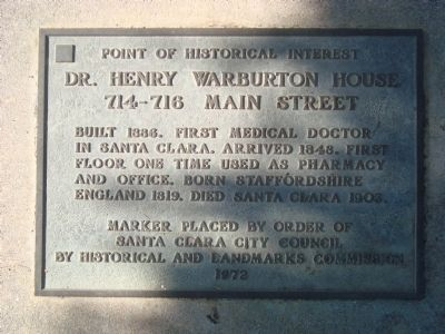 Dr. Henry Warburton House Marker image. Click for full size.