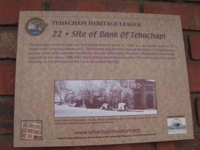 Site of Bank of Tehachapi Marker image. Click for full size.