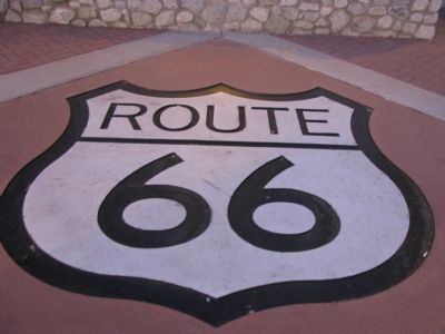 Route 66 Emblem across the street. image. Click for full size.
