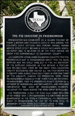 Fig Industry in Friendswood Marker image. Click for full size.