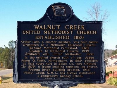 Walnut Creek United Methodist Church 	 Marker image. Click for full size.