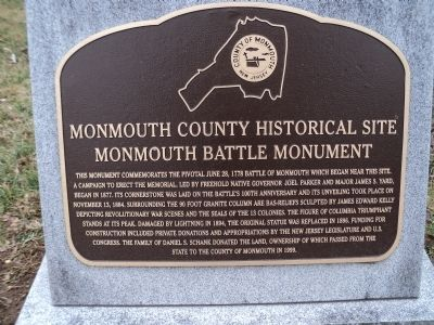 Monmouth Battle Monument Marker image. Click for full size.