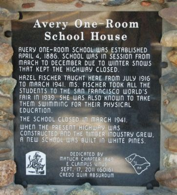 Avery One-Room School House Marker image. Click for full size.