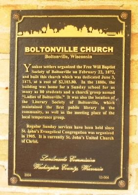 Boltonville Church Marker image. Click for full size.