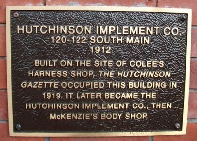 Hutchinson Implement Co. Marker image. Click for full size.