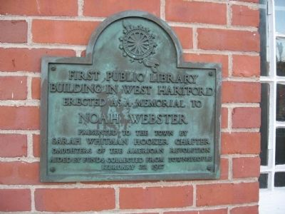 First Public Library Building in West Hartford Marker image. Click for full size.