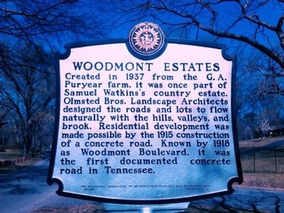 Woodmont Estates Marker image. Click for full size.