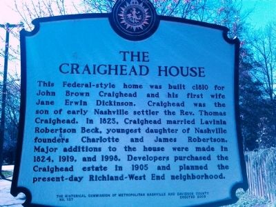 The Craighead House Marker image. Click for full size.