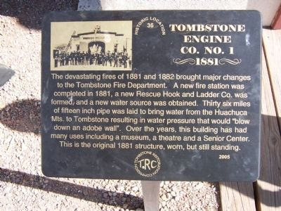 Tombstone Engine Co. No. 1 Marker image. Click for full size.