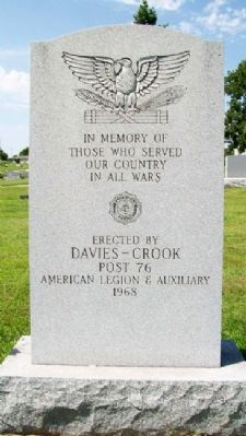 Davies-Crook American Legion Post 76 War Memorial image. Click for full size.