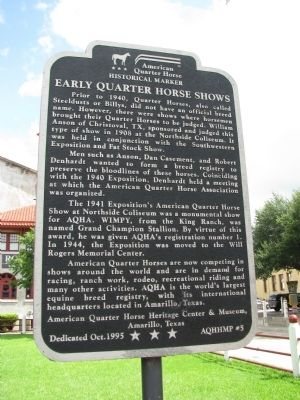 Early Quarter Horse Shows Marker image. Click for full size.