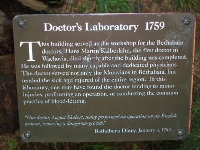 Doctor's Laboratory 1759 Marker image. Click for full size.