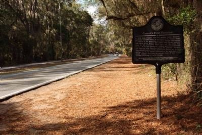 Cannon's Point Plantation Marker, looking north on Lawrence Road image. Click for full size.