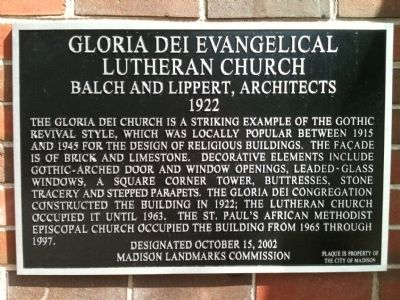 Gloria Dei Evangelical Lutheran Church Marker image. Click for full size.