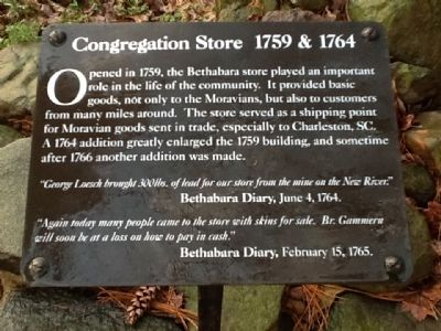 Congregation Store 1759 & 1764 Marker image. Click for full size.