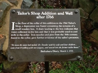 Tailor's Shop Addition and Well after 1766 Marker image. Click for full size.