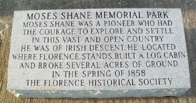 Moses Shane Memorial Park Marker image. Click for full size.
