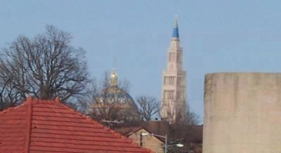 Dome and tower of he National Shrine of the Immaculate Conception, image. Click for full size.