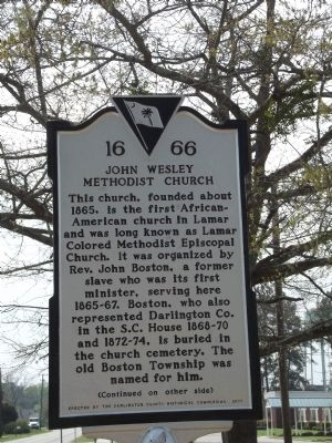 John Wesley Methodist Church Marker image. Click for full size.