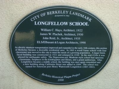 Longfellow School Marker image. Click for full size.
