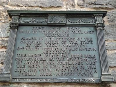 Cortlandt House Marker image. Click for full size.