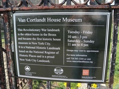 Van Cortlandt House Museum Marker image. Click for full size.