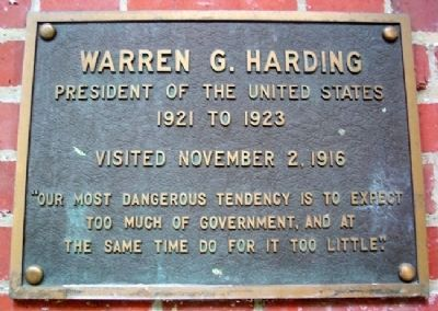 Ohio University's Warren G. Harding Marker image. Click for full size.