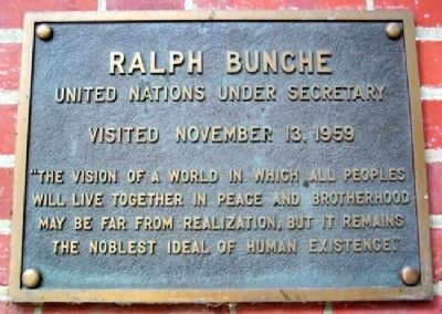 Ohio University's Ralph Bunche Marker image. Click for full size.