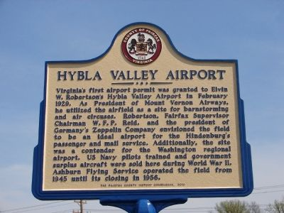 Hybla Valley Airport Marker image. Click for full size.