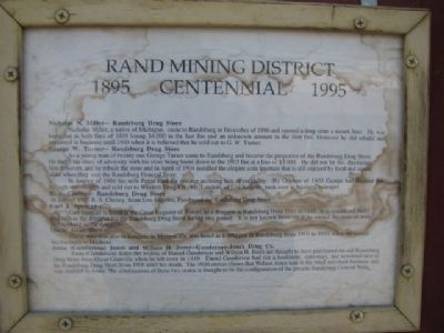 Rand Mining District Marker image. Click for full size.