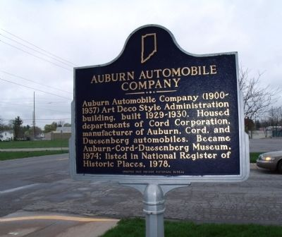 Obverse Side - - Auburn Automobile Company Marker image. Click for full size.