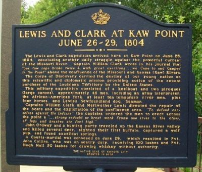 Lewis and Clark at Kaw Point Marker (Side A) image. Click for full size.