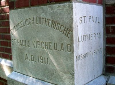 St. Paul Lutheran Church Cornerstone image. Click for full size.