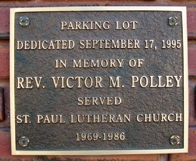 St. Paul Lutheran Church - Rev. Polley Marker image. Click for full size.