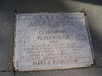Claremont Playground Marker image. Click for full size.