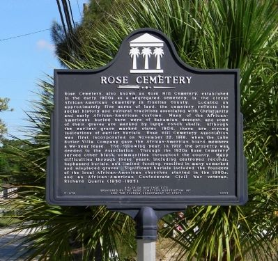 Rose Cemetery Marker image. Click for full size.