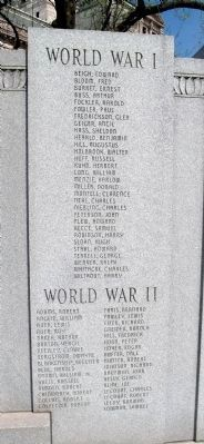 W.W. I -and- W.W. II - - Names Listed image. Click for full size.
