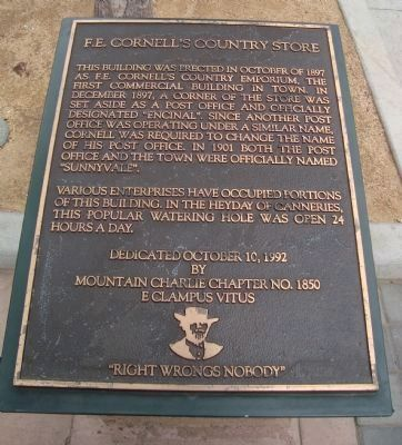 F.E. Cornell's Country Store Marker image. Click for full size.
