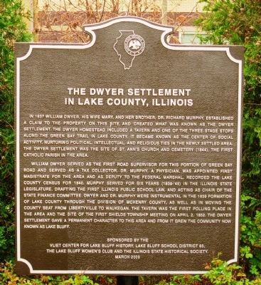 The Dwyer Settlement in Lake County, Illinois Marker image. Click for full size.