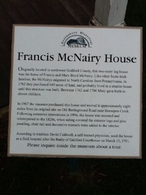 Francis McNairy House Marker image. Click for full size.