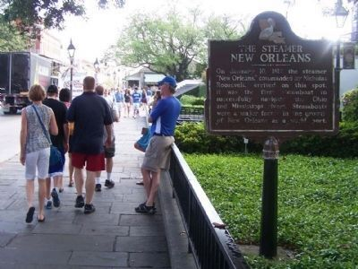 The Steamer New Orleans Marker, looking north along Decatur Street image. Click for full size.