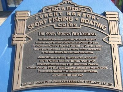 The Santa Monica Pier Carousel Marker Photo, Click for full size